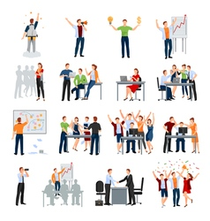 Startup People Flat Icons Collection vector image