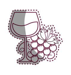 sticker line glass of wine with grape icon vector image