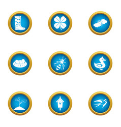 Suburb icons set flat style vector