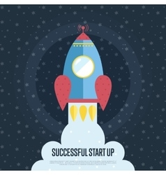 Successful Start Up Cartoon Web Banner vector