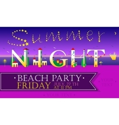 Summer night beach party funny invitation vector