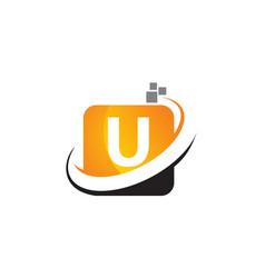 Technology motion synergy letter u vector