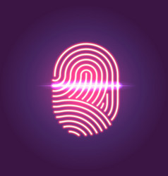 Touch id neon icon fingerprint scanning vector
