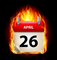 twenty-sixth april in calendar burning icon on vector image