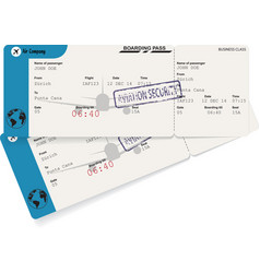 two blue plane tickets vector image