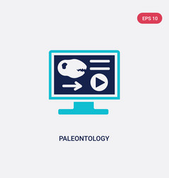 Two color paleontology icon from e-learning and vector