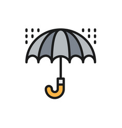 umbrella with rain drops bad weather flat color vector image