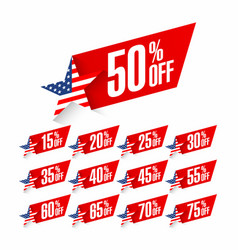 usa independence day discount labels fourth of vector image