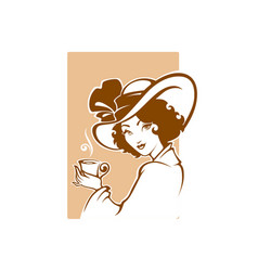 Victorian lady portrait holding a cup tee vector
