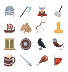 Vikings set icons in cartoon style Big collection vector image