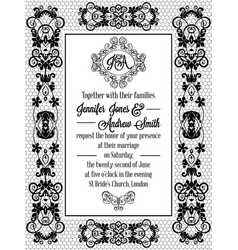 Vintage baroque style wedding invitation card vector