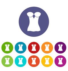 vintage corset icons set color vector image