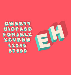 vintage type alphabet with 3d threedimentional vector image