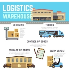 Warehouse cargo logistic infographics vector image