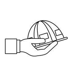 worker helmet cartoon vector image