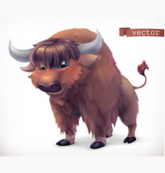 yak buffalo cartoon character funny animal 3d icon vector image