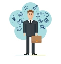 Young businessman with suitcase vector