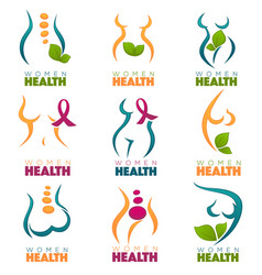 collection of women health and care symbols vector image vector image