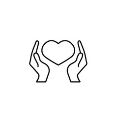 health care and hearth in hands icon vector image