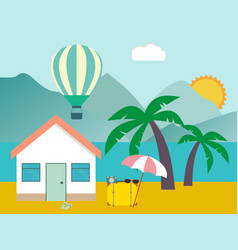hotel on the beach resort on the sea tropical vector image vector image