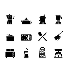 Silhouette kitchen and household equipment icon vector image vector image