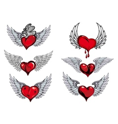 Winged heart icons and tattoos vector image
