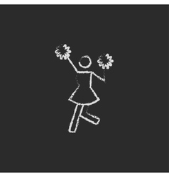 Cheerleader icon drawn in chalk vector image