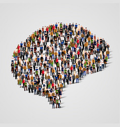 large group of people in the brain sign shape vector image vector image