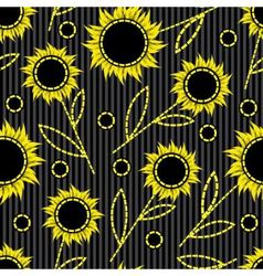 seamless dark striped background with abstract sun vector image