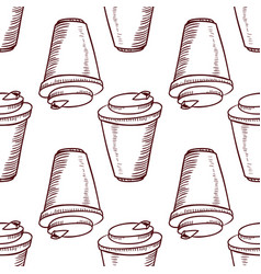 seamless pattern with take away cups vector image