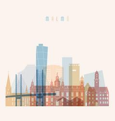 malmo skyline detailed silhouette transparent vector image vector image