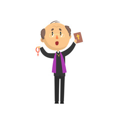priest character standing with bible book and vector image