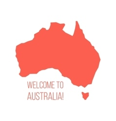 red silhouette of Australia with inscription vector image vector image