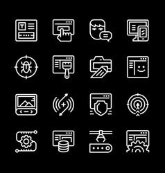 set line icons of web development vector image