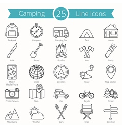 25 Camping Line Icons vector image vector image