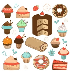 Colorful sweets menu collection vector image