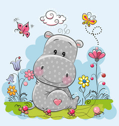 cute cartoon hippo vector image vector image