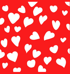 White heart on red background vector