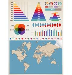 World Map Charts vector image