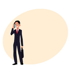 young businessman standing talking by mobile vector image vector image
