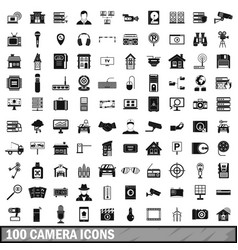 100 camera icons set simple style vector