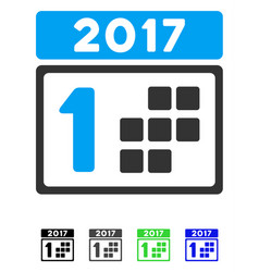 2017 year first day flat icon vector