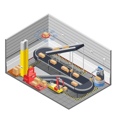 Automatic Warehouse Isometric Interior vector