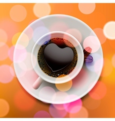 Autumn cup of coffee blurred background vector image