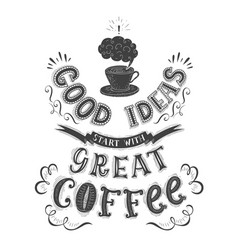 banner of coffee with handlettering poster with vector image