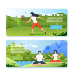 banners with outdoors yoga and tennis girl vector image