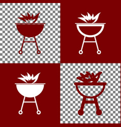 Barbecue with fire sign bordo and white vector