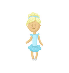 beautiful smiling blonde soft doll in a light blue vector image