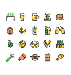 beer and oktoberfest signs color thin line icon vector image