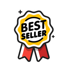 Best seller badge seller golden label retail vector